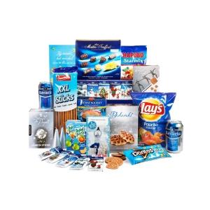 Alle blauwe kerstpakketten op een pagina