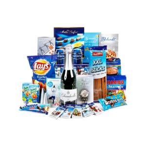 Overzicht van het blauw kerstpakket assortiment