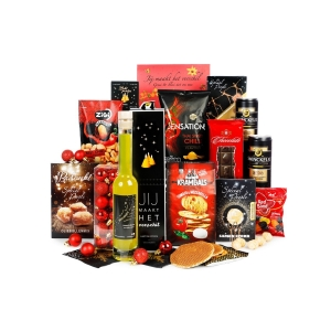 Gevulde kerstpakket Hoogeveen met eten drinken en accessoires