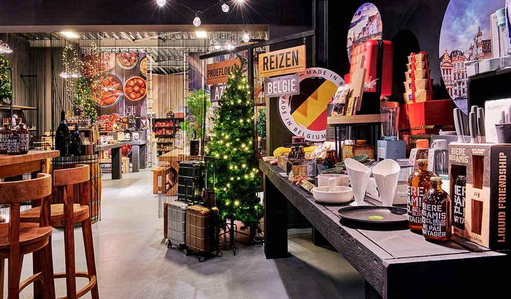 Kerstpakket showroom voor het zelf samenstellen van kerstgeschenken